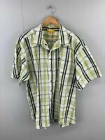 Jeep Mens Lime Blue Check Collared Short Sleeve Pocket Button Up Shirt Size XL