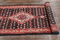 Vintage Geometric 10 ft Black Runner Hamedan Oriental Rug Hand-Knotted WOOL 3x10