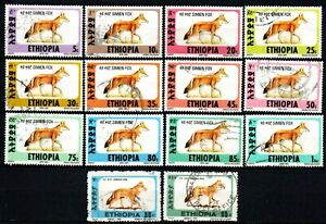 Ethiopia small lot of used stamps Wild Animals Simien Fox