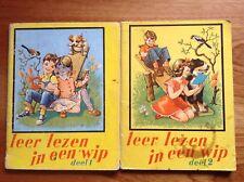 Vintage 'Leer lezen in een wip' (deel 1 & 2). Dutch. Poor quality, Late 60's