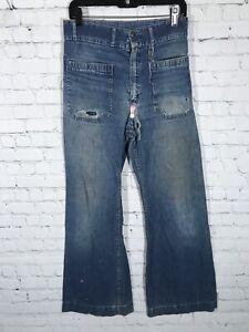 VTG SEAFARER Denim USN NAVY Dungarees Selvedge Sanforized Distressed Jeans Mens