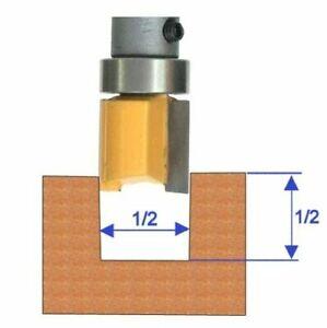 """1 pc 1/4"""" Shank with Top Bearing Dado 1/2x1/2 Blade Flush Trim Pattern Bit S"""