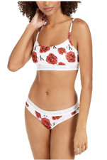 Calvin Klein CK One Cotton Bralette & Bikini Set Red Roses sz XS NEW