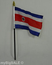 "COSTA RICA Rican national Flag 4"" X 6"" on 10.75"" Pole Bandera Mesa Table Top"
