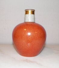 "Royal Copenhagen Burnt Orange & Gray Crackle Small Vase 5 3/4"" Tall"