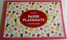 """TROPICAL Paper Placemats  PINK FLAMINGO/ HAPPY SUMMER 48 Sheets 16"""" X 11"""""""