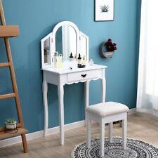 White Dressing Table, Oval Mirror & Stool Set (1 Drawer) Bedroom Makeup Desk