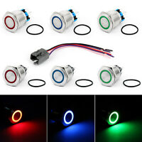 25mm 24V Ring LED Push Button Switch Stainless Steel For Car/Boat/DIY 250V 5A