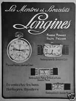 PUBLICITÉ 1922 LONGINES LES MONTRES ET BRACELETS OR PLATINE - ADVERTISING