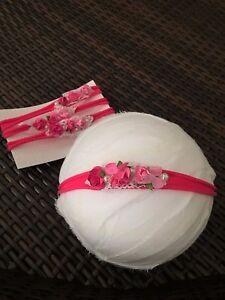 Newborn Baby Girl Happy Valentine Rosette Headband photo prop accessory 0-2 yrs