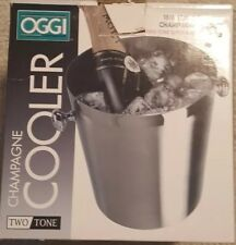 Champagne Bucket for Chilling Wine Brushed Stainless Steel with Polished Accents