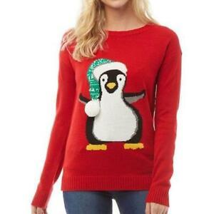 Womens Christmas Santa Jumper Ladies Long Sleeve Xmas Jumper  Medium