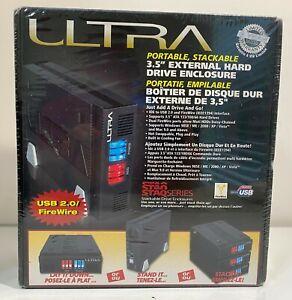 "Ultra 3.5"" Black USB 2.0 External Hard Drive External Enclosure Stackable. New"