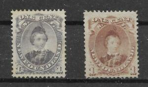 Neufundland 1868/71, Scott 32+32A matt lila+braunviolett 1c, (*)