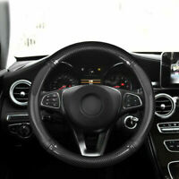 "15"" Car Steering Wheel Cover Luxury Carbon Fiber PU Leather Anti-Slip 38cm Black"