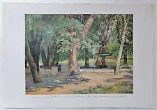 Parkkultur: Garten Villa Borghese Rom - Kunstdruck nach F. Küchler -