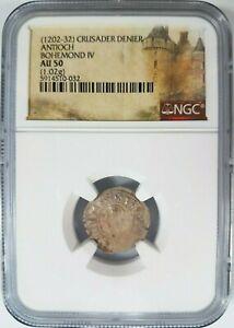 Antioch Bohemond IV NGC AU 50 Silver Denier Knights Templar Crusader Cross Coin