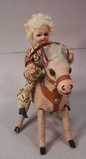 Antique Key Wind Donkey with Bisque Head Doll Rider-Schoenhau Hoffmeister