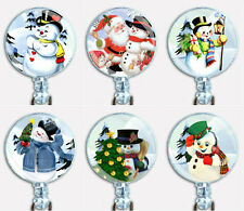 Christmas Holidays Winter Snowman Badge Reel Retractable ID Name Card Holder
