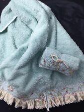 Tealish Blue Handowel (16x24)+ washcloth embroidered with pretty ruffles