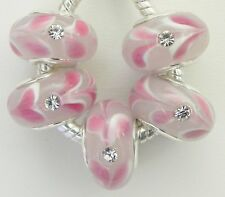 5 Pink w/ White Petals Stone Fit European Style Jewelry 9 * 14 & 5 mm Hole  B145