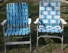 2 Vintage Mid Century Aluminum Chair Folding Lawn Patio Pair Blue Blue  Webbing