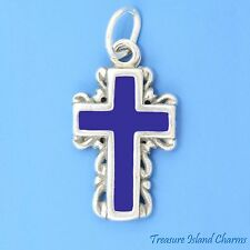 BLUE ENAMEL CROSS with SCROLLED EDGE 2-Sided .925 Sterling Silver Charm Pendant