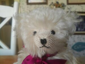 White Mohair Hermann Spielwaren Teddy Bear Germany 10in EUC