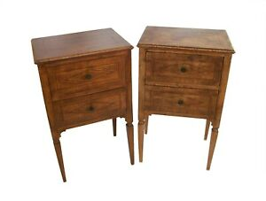 North Italian Antique Pair of Walnut Neoclassical Bedside Tables - Circa 1820