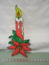 Vintage Melted Popcorn Plastic Decor Xmas Christmas Poinsettia Candle Decoration