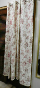 SINGLE DRAPE-GROMMETS-RED PRINT ON WHITE-THICK FABRIC-SHOWER CURTAIN OR DRAPE