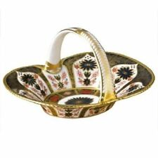 New Royal Crown Derby 2nd Quality Old Imari Solid Gold Band Heather Basket