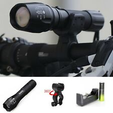 Tactical 9000LM XM-L T6 LED Flashlight Powerful Lamp Zoom+18650BTY*Charger+Clip0