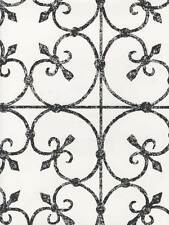 Avalon Faded Black Wrought Iron Scroll Work on Off White Wallpaper 28346928