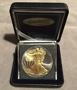 *1oz 2014 Silver Eagle Walking Liberty-Golden Enigma Coin, Ruthenium+24K Gold*