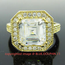Real Genuine Solid 9ct Yellow Gold Engagement Wedding Ring Asscher Lab Diamonds