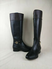 Michael Kors Heather Knee High Riding Boots Black Leather Women's Size 8 M US