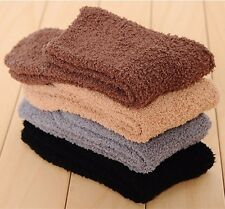 Mens Solid Color Cashmere Socks Fluffy Socks Thermal Cosy Sock Slipper Bed Socks