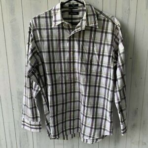 Nautica Mens Long Sleeve Button Up Shirt Size M Plaid Cotton