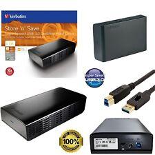 """HARD DISK ESTERNO VERBATIM 3,5"""" 1TB-2TB-3TB-4TB 3.0 HD PER PC TV CONSOLE NERO"""