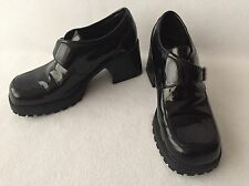 Maurices Shiny Black Faux Leather Shoes Chunky Heel Punk Grunge Goth Size 8.5