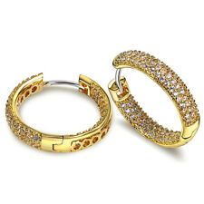 Brand New Yellow Gold Plated Round Clear Sparkly Zircon Women Girl Hoop Earrings