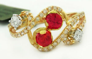 AAA 0.75 Cts RUBY & GENUINE DIAMONDS RING 14k GOLD *New with Tag* -