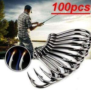 100Pcs Metal Fishing Tools Hooks Jig Big Hook Bait Holder Fishhooks 8 Sizes