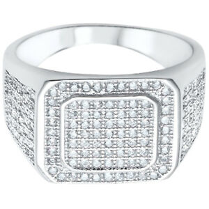 Men's Hip Hop Clear Ice CZ Fashion Genuine Sterling Silver Ring Size 8 - 15