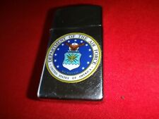 Year 1989 Zippo Slim Lighter With US DEPARTMENT OF THE  AIR FORCE Emblem Sticker
