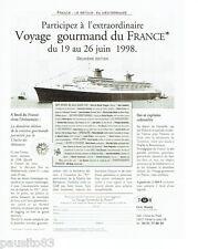 PUBLICITE ADVERTISING 096  1998  TMR  voyage  gourmand paquebot France