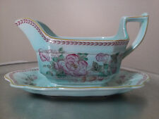 1960's Wedgwood Adams Mint Green and Pink Floral Gravy Boat Tray Combination.