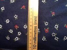 Stretch floral blue denim fabric 132cm or 52 inch wide