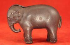 "Antique Cast Iron 3¾"" Long ELEPHANT Bank - Original Paint and Screw"